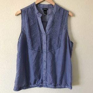 Torrid Sleeveless Top Blue with White Dots